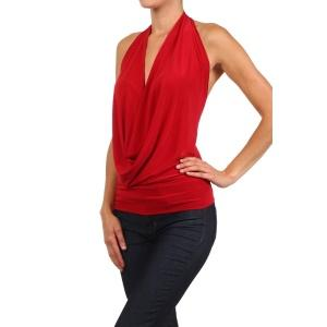 Latin Hatler Neck Top Red Pic 2