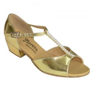 160905b_7969616 Girls Ballroom & Latin Shoes | Morena Dancewear Girls Ballroom and Latin dance shoes in gold color and low heel.