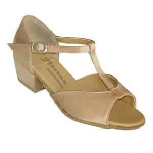 160918b Girls Ballroom & Latin Shoes Girls Ballroom and Latin dance shoes in nude color and low heel.