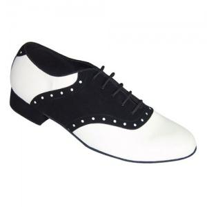 251201 251401 | Morena Dancewear Latin & Ballroom Shoes, model 251201 in black suede and white leather.